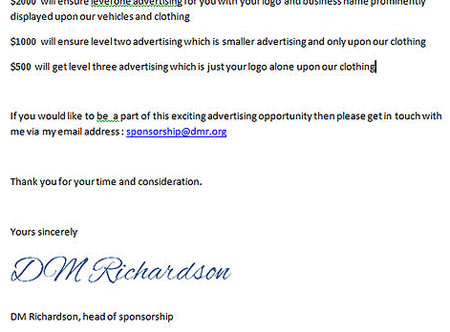 Спонсорское письмо